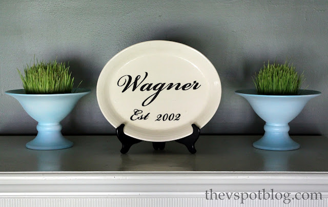 wheat grass, decor, blue urns, decorative plate, white plate, monogram, personalized, anniversary