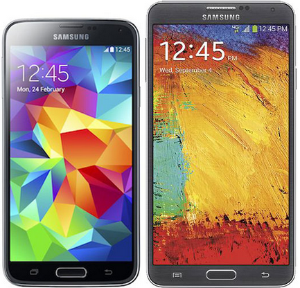 Samsung Galaxy S5 and Samsung Galaxy Note 3 Android Phones