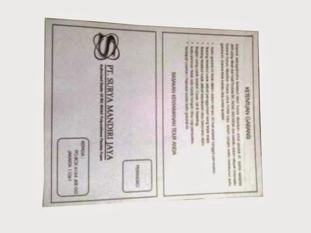 kartu garansi untuk busa eon lg d 23