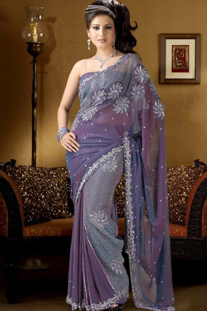 Saree-in-Periwinkle-color
