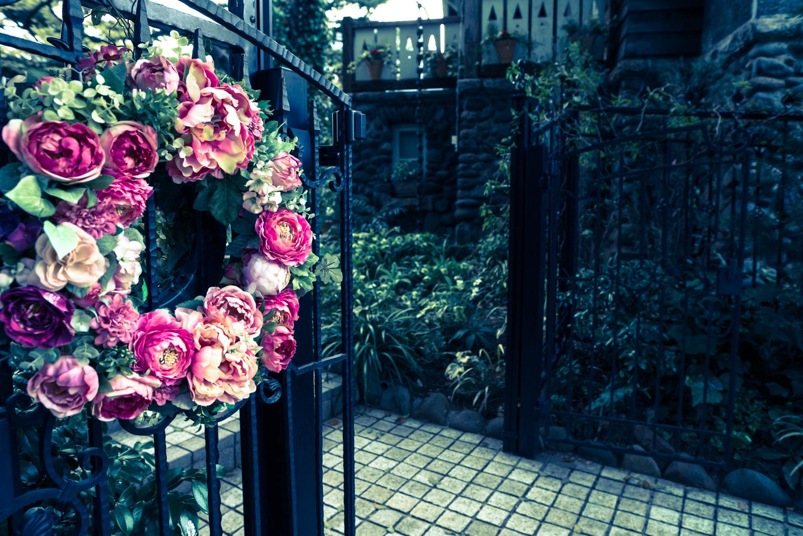 クロスプロセスでRAW現像した花と門の写真