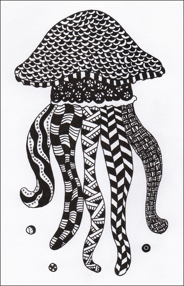 ink zentangle drawing of a jellyfish