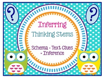 http://www.teacherspayteachers.com/Product/Inferring-Thinking-Stems-Schema-Text-Clues-Inferences-Owl-Posters-1124172