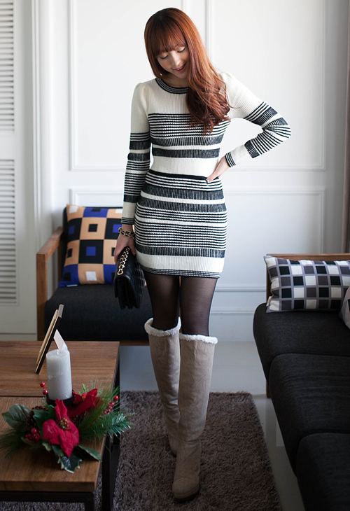 Gradated Striped Knit Dress