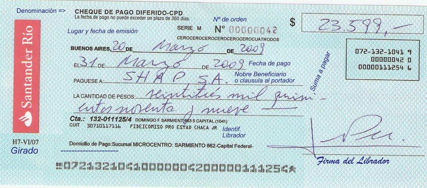 Resultado de imagen para cheque