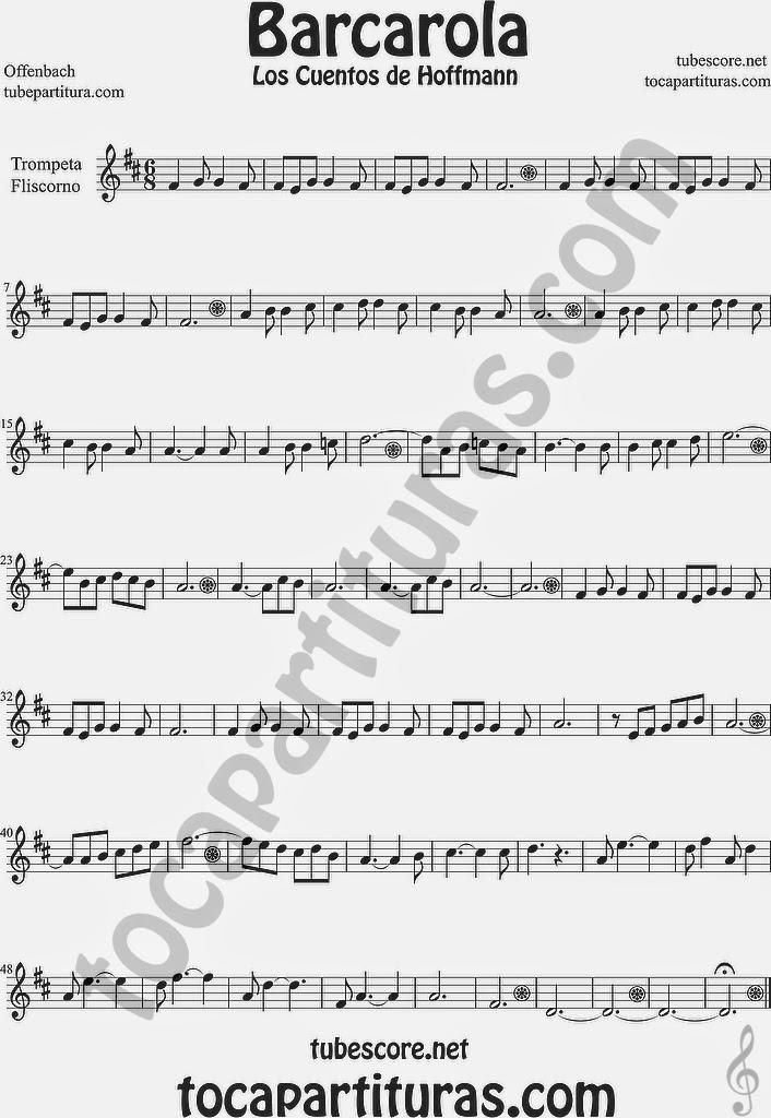 Barcarola Partitura de Trompeta y Fliscorno Sheet Music for Trumpet and Flugelhorn Music Scores Los cuentos de Hoffmann by Offenbach