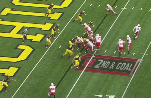 Typical option play the quarterback would be reading the unblocked