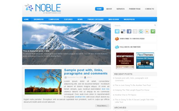 Free Wordpress Ice Blue Blog Jquery Theme Template