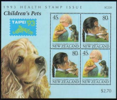 1993年ニュージーランド 子どもとペットの切手シート