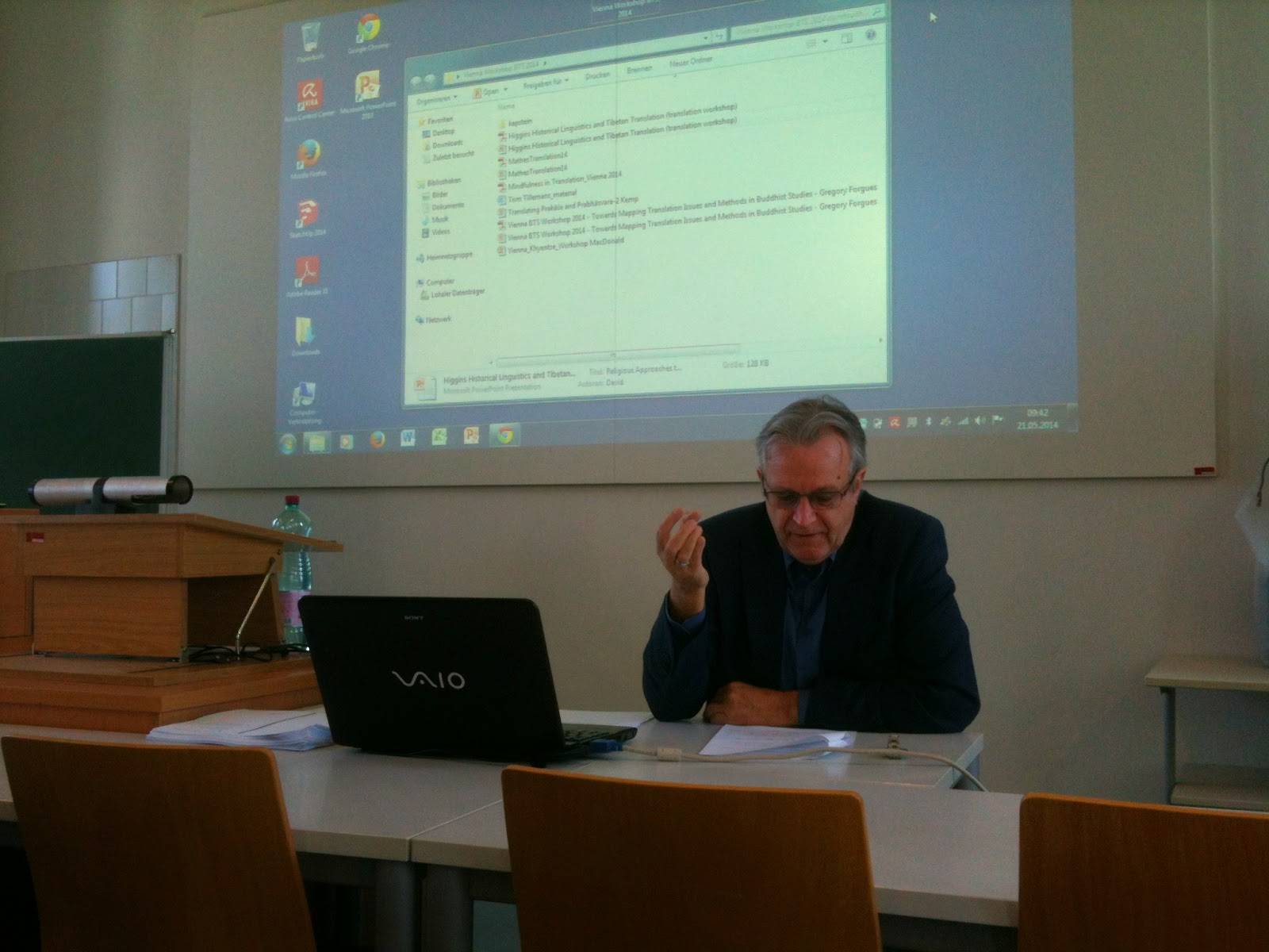 Prof. Martin Gaenszle during his presentation at the Buddhist Translation workshop.