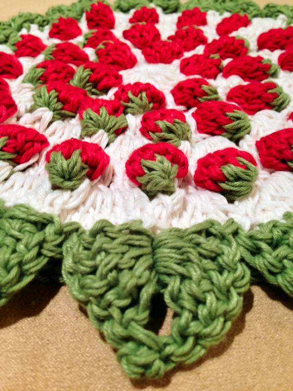 Crochet Rockstar Strawberry Pot Holder