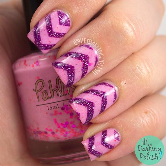 nails, nail art, nail polish, indie, indie nail polish, pahlish, zoya, hey darling polish, pink, chevrons, the never ending pile challenge