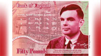 Alan Turing fifty pound note, image: Bank of England