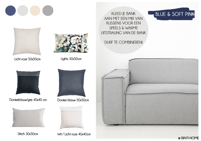 Shop de stijl, kussens op een grijze bank