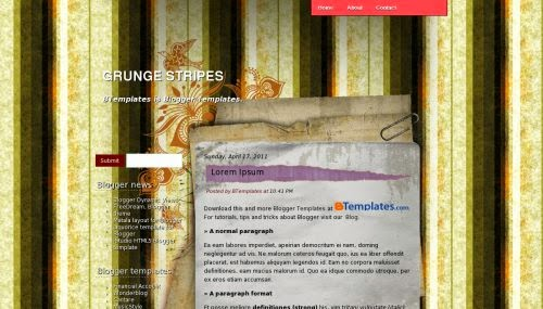 Grunge Stripes - Free Blogger Template