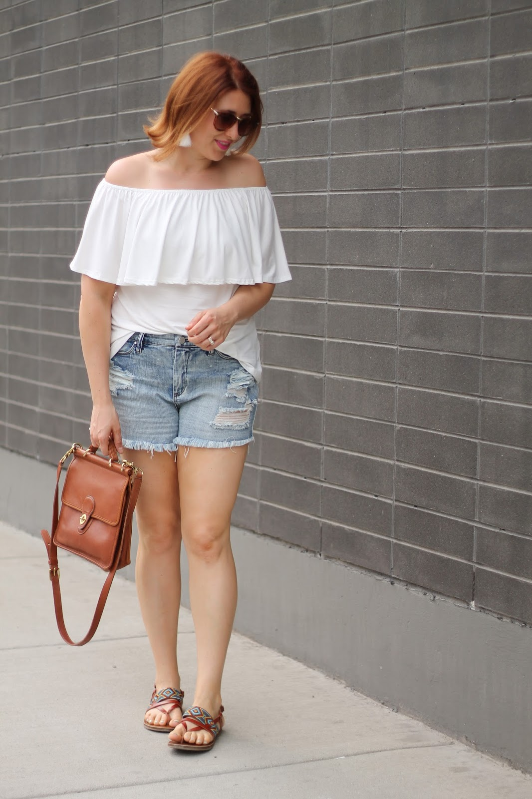 distressed, denim, off, the shoulder, top, coach, willis