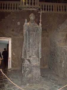 Rock salt statue of Pope St John PaulII in Wieliczka salt mines.