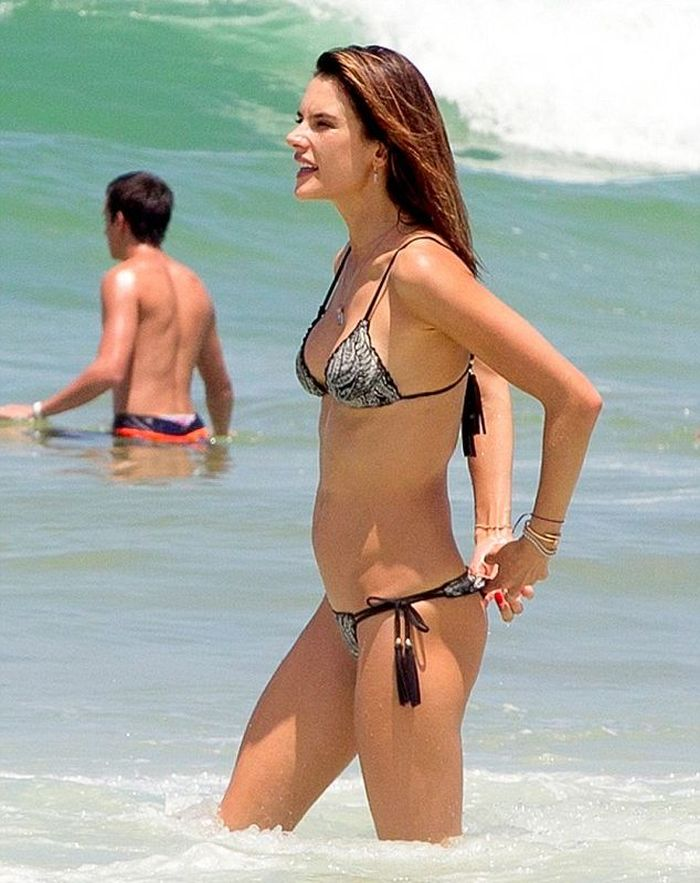 Alessandra hit the beach to soak up the sun in Brazil