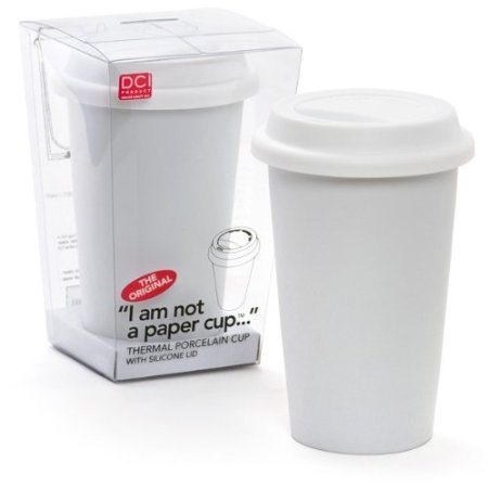 I Am Not a Paper Cup 12-Oz Porcelain Mug w/ Lid