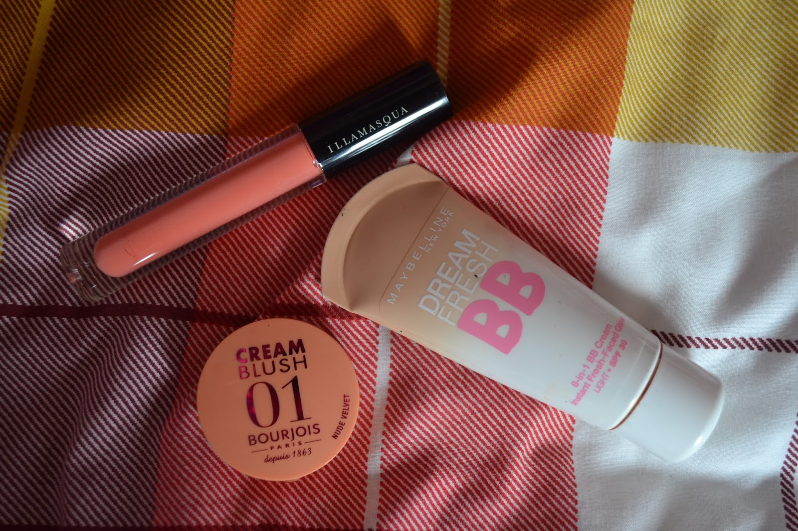 maybelline bb cream, bourjois cream blush, illamasqua matte lip liquid in surrender