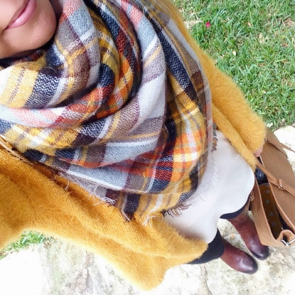 mustard cardigan and plaid zara blanket scarf because shanna said so