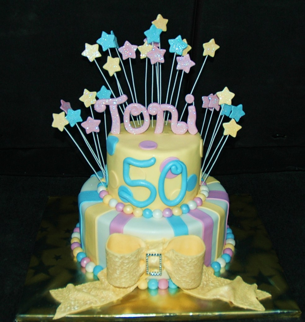 Taras Cupcakes 2 Tier 50th Birthday Cake