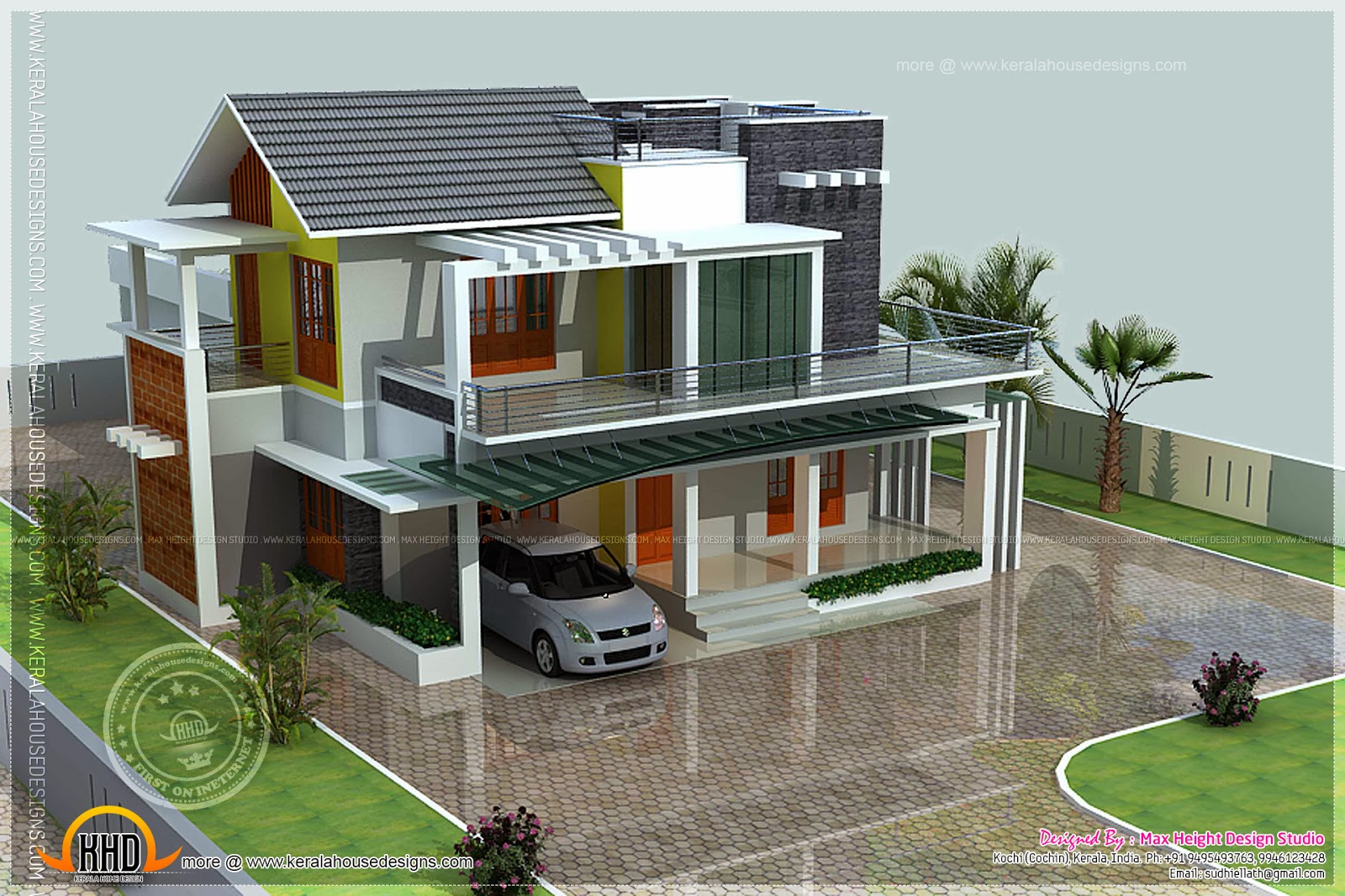 Front Elevation Of 200 Sq Yards : Square yards contemporary house kerala home design