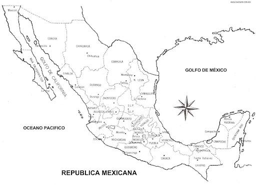 LAMINAS PARA COLOREAR - COLORING PAGES: Mapa de la República Mexicana