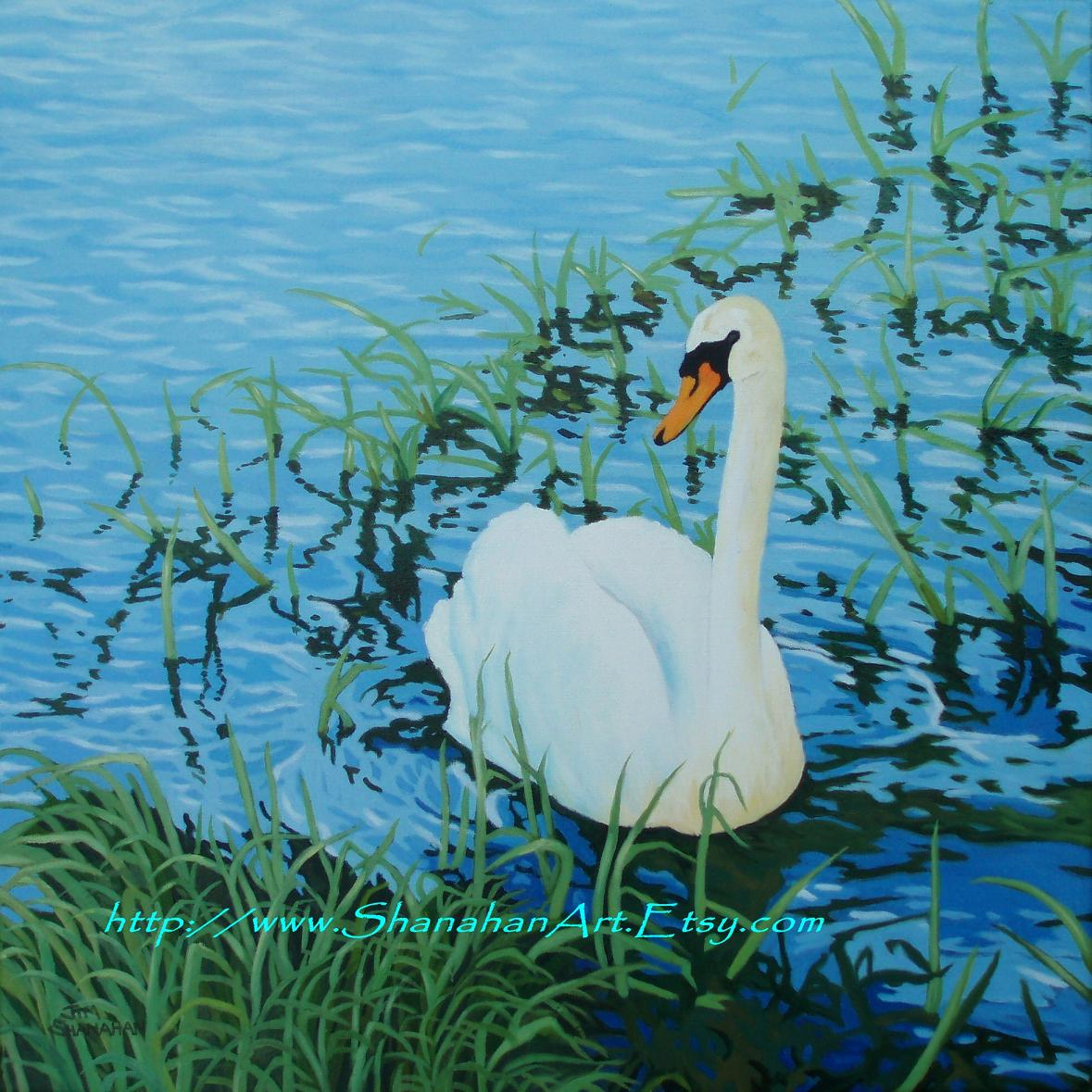 Swan in Reeds - For Sale Euro 300