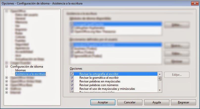 Configuración Asistencia a la escritura OpenOffice