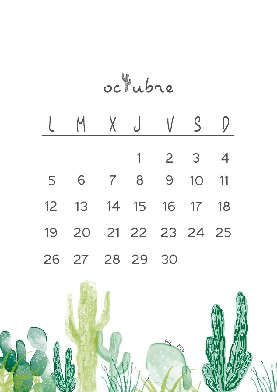 Calendario descargable de octubre cactus