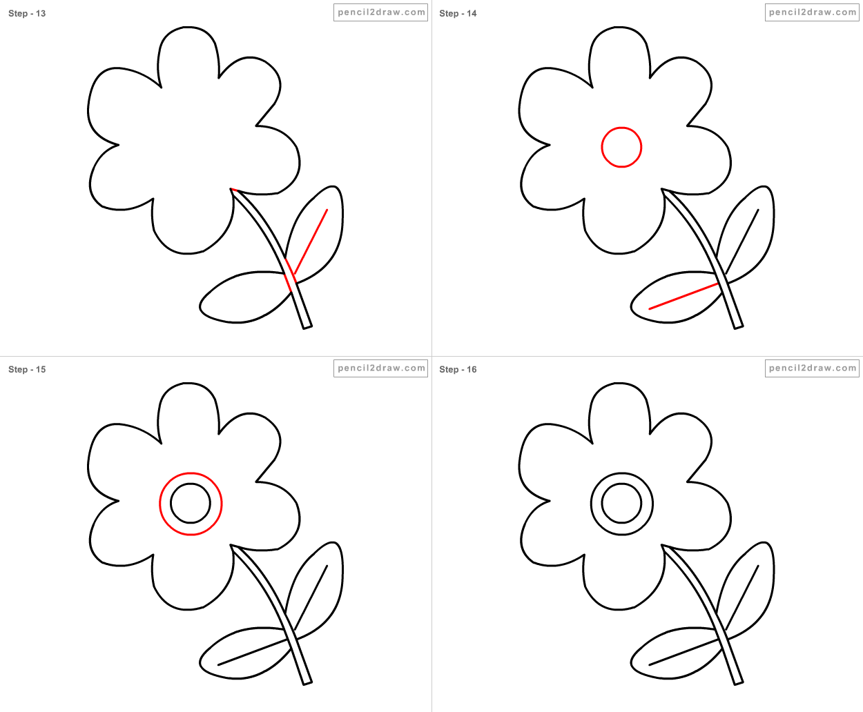 Gallery For > Flowers To Draw For Kids Step By Step