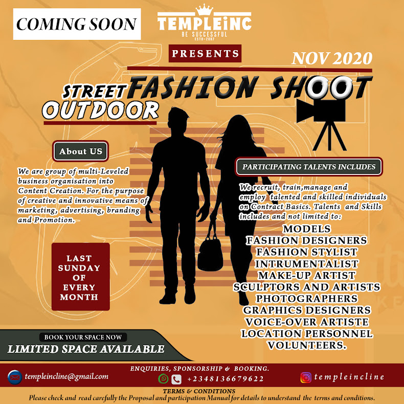 Opportunity To Showcase Ideals || Street Outdoor Fashion Shoot (Temple INC) Offer