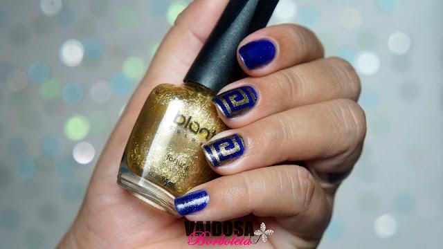 blant, nail art dourada, fortuna blant, esmaltes blant, nail stamp, nail vinil, nails vinil, unhas decoradas, unhas azul e dourado,