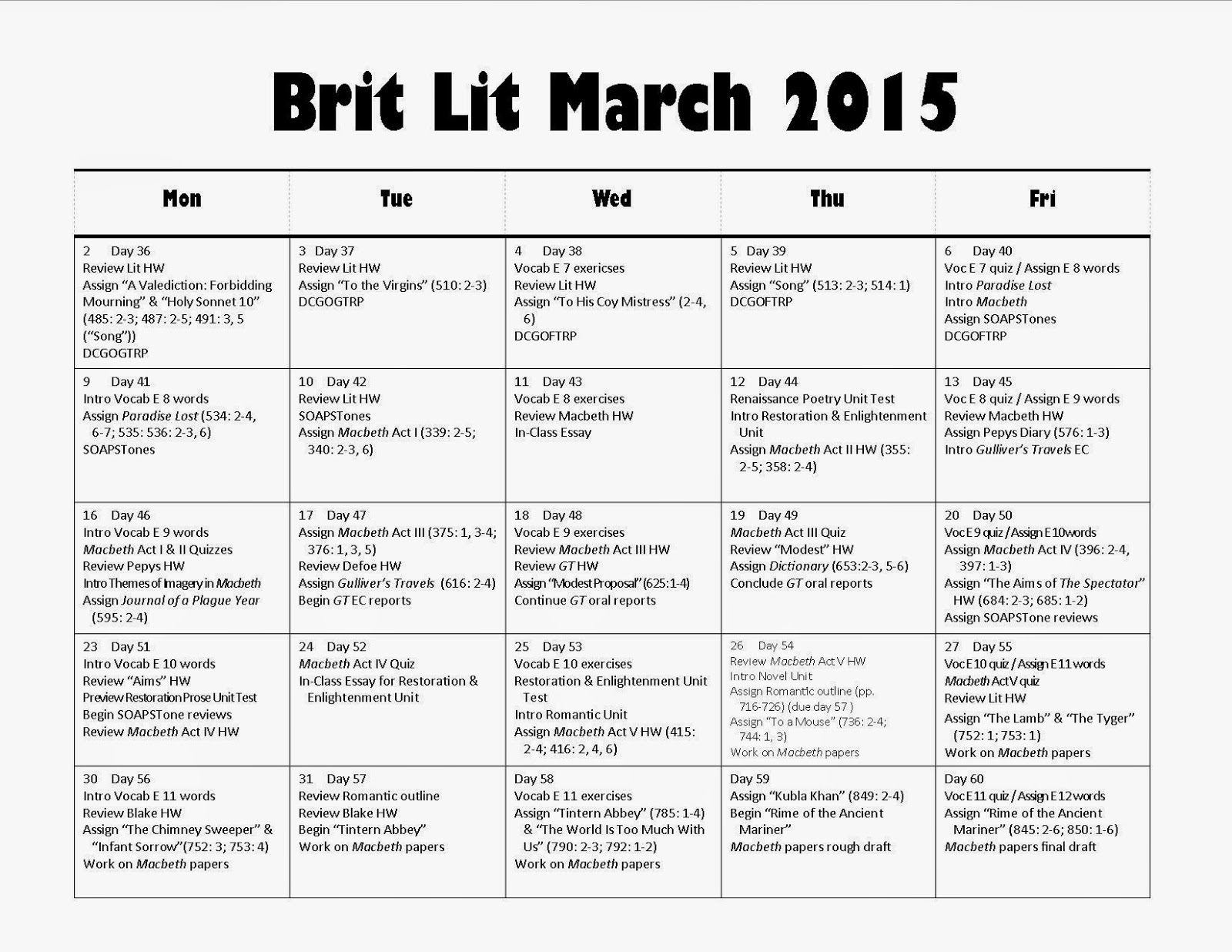 Dr C S Brit Lit Wednesday 18 2015