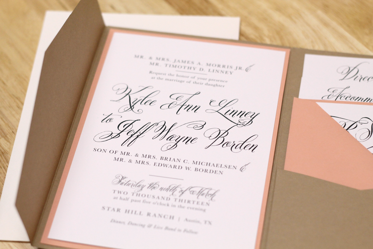 Kxo Design: Rustic Peach Wedding Invitation with Kraft Pocketfold and Custom Map