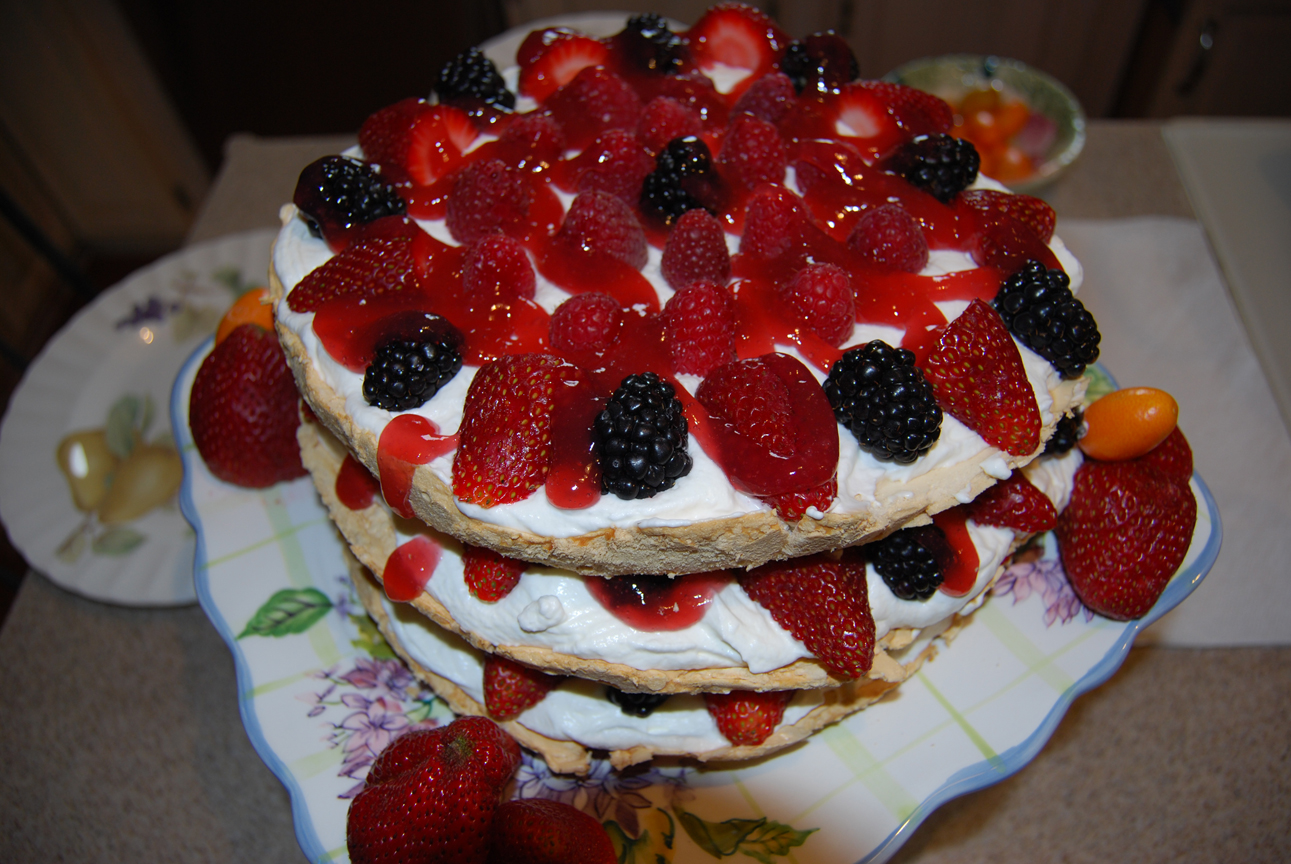 Plates: James...Three Layer Berry & Brown Sugar Pavlova