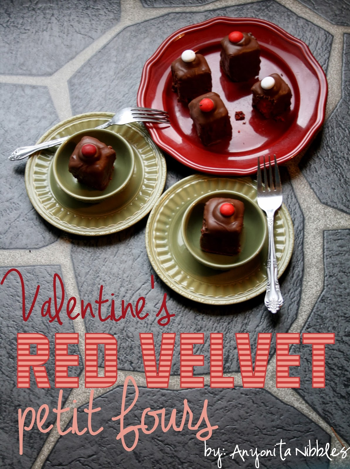 "Valentine's Red Velvet Petit Fours from Anyonita Nibbles ""Perfect tea time treats!"""