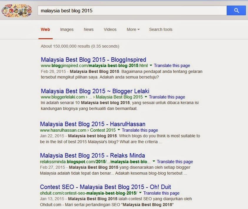 Kedudukan Terkini Malaysia Best Blog 2015
