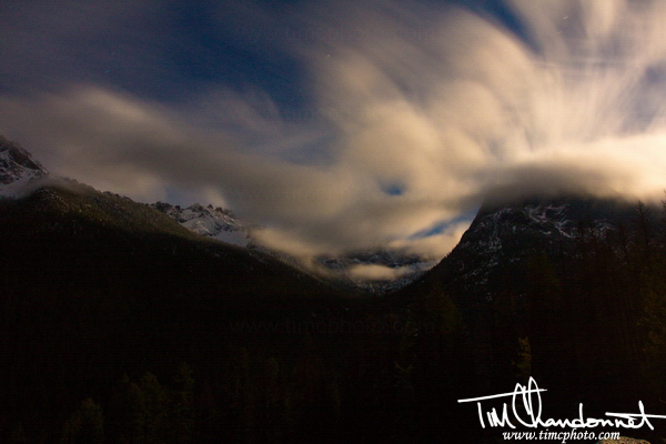 landscape photography, travel images,Tim Chandonnet Photography, timcphoto,Bellingham Phootgrapher,Clouds, movement, Washington Pass, North Cascades National Park, moonlight
