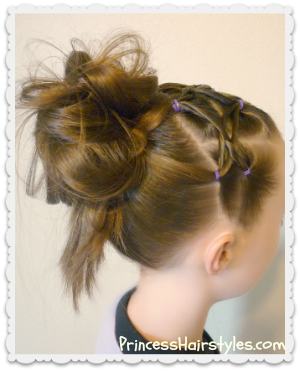 Hairstyle for sports, woven twist headband and messy bun
