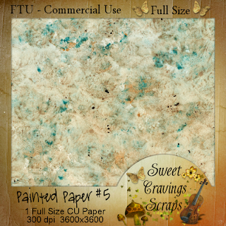 Free scrapbook painted paper number 5 from Sweet Cravings
