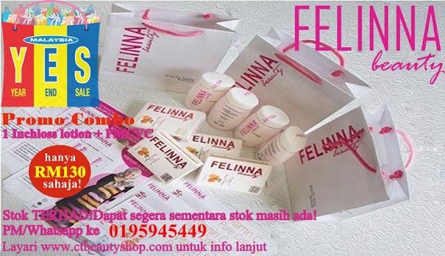 Miliki set Felinna Inchloss lotion + Vit C Plus Pure Marine Collagen dengan hanya RM130 sahaja!