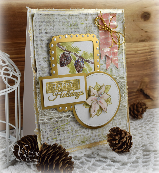 Watercolor Pinecones by Julee Tilman | www.poeticartistry.blogspot.com | Click here to see more of Julee's creations | #vervestamps #cardmaking #christmas cards