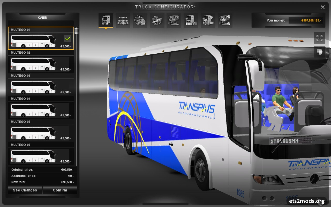 Bus (unfinished) mod for Euro Truck Simulator 2, tested on 1.7.1