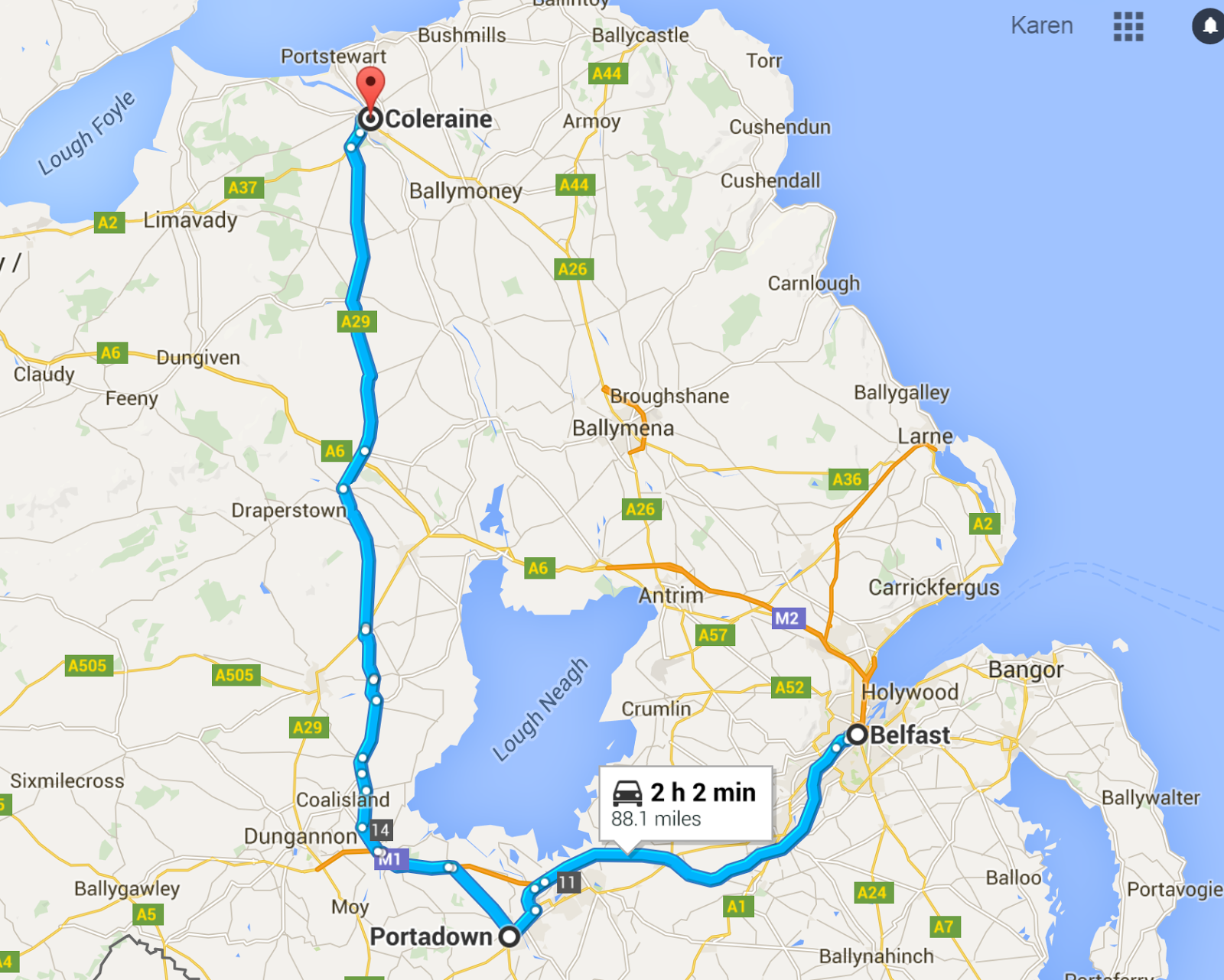 map shows where portadown and coleraine are in relation to belfast