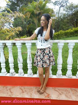 Saia floral e blusa Cute