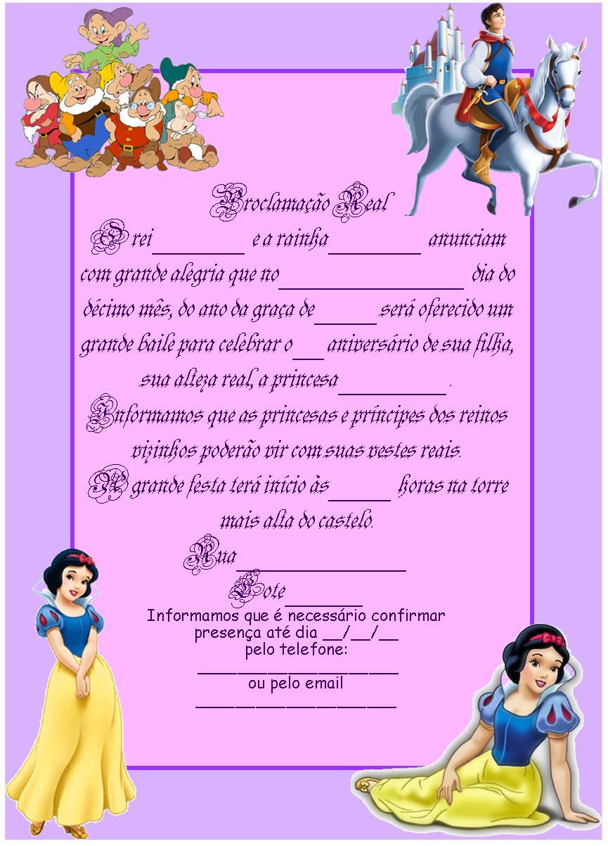 Gata Borralheira Quem Te Pintou Convites Princesa Para Imprimir