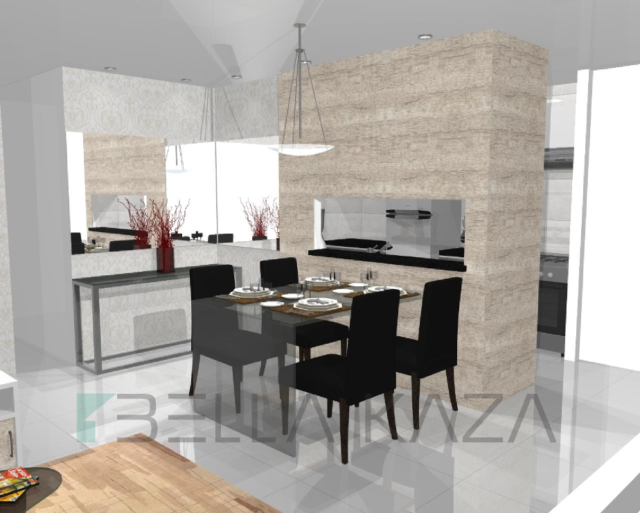 cozinha e sala integrada