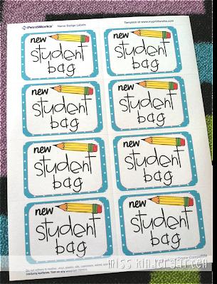 New student bag tags